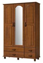 Roupeiro 3 Portas 4 Gavetas c/Espelho Esmeralda